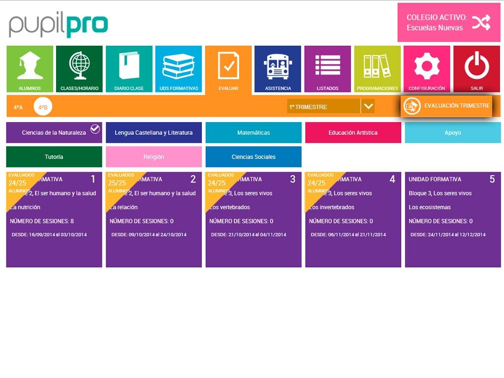 ACTUALIZACIÓN: Evaluación trimestral e impresión de informes individualizados de los alumnos.